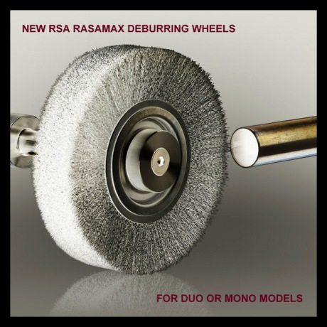 new rasamax deburrer wheels, plastic bonded rsa rasamax edge deburrer wheels, rsa machines, rasamax duo wheels, rasamax mono wheels, new deburring wheels